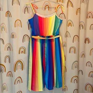 Unique Vintage Rainbow Swing Dress 🌈😍